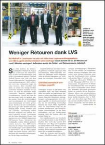 Materialfluss 10/2015: Weniger Retouren dank LVS